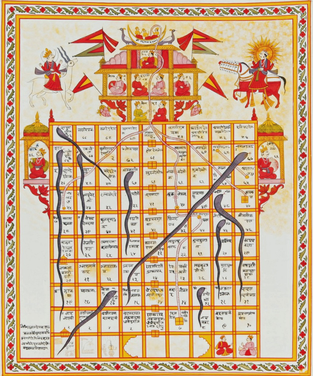 Jain version Game of Snakes & Ladders. Gouache on cloth, India, 19th century