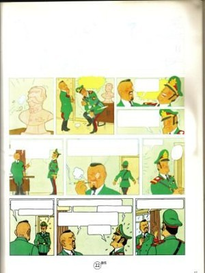 4. He then redrew the page in blue pencil, painted it and redrew the inks.